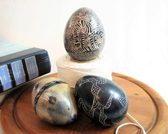 Soapstone Eggs, Hand Carved African Art Trio, Vintage Set of 3 ... Zebra, Ostrich Feathers, Natural Stone Eggs, Tribal, Safari Decor