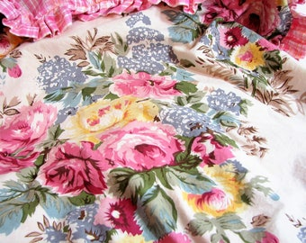 Vintage Ethan Allen Cabbage Roses Ruffled Euro Shams, Square Cushion Covers ... Pink & Yellow Cabbage Roses on Ecru, Cottage Chic Bedding