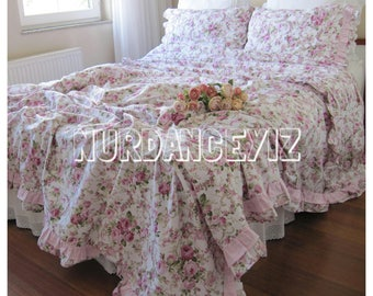 shabby chic Bedding Red green Pink roses floral print Twin/Full/Queen/Cal King duvet cover shabby chic ruffled romantic bedroom Nurdanceyiz