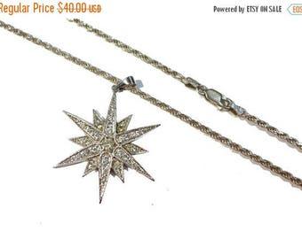 "ON SALE Vintage Sterling Silver Rhinestone Starburst Pendant w/ 18"" Twisted Chain #2383"