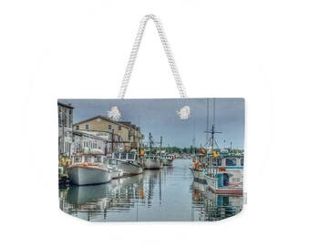 Weekender Tote Bag, Patrushka Maine Tote Bag, Custom House Wharf, Portland, Maine, Overnight Bag, Gym Bag! Canvas Tote, FREE SHIPPING USA