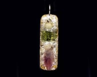 Moldavite Orgonite® Pendant with Auralite Arkansas Phenacite Petalite Crystals, Elite Shungite, Tourmaline, Rhodizite, Selenite (e38)