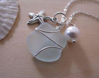 Soft blue sea glass jewelry starfish necklace beach glass necklace beach wedding blue beach glass bridesmaid gift