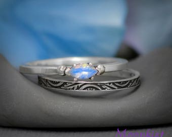 Rainbow Moonstone Marquise Promise Ring Set with Band in Sterling - Silver Leaf and Crescent Band Set - Narrow Marquise Ring and Band Set