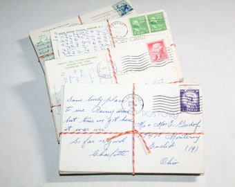 SALE Postcard Craft Pack - 100 Postmarked, Stamped and Written on Postcards - 1950s-1970s