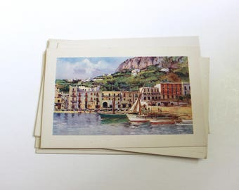 8 Vintage Capri Italy Unused Postcards Blank - Unique Travel Wedding Guest Book, Reception Decor, Travel Journal Supplies