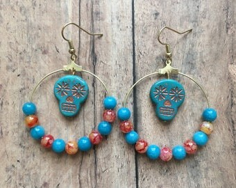 Orange and blue sugar skull earrings, sugar skull jewelry, skull jewelry, dia de los muertos, halloween jewelry, day of the dead jewelry