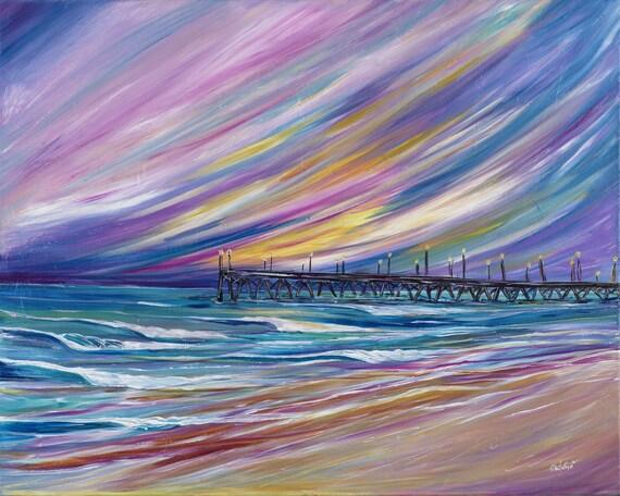 Surf Art 18x24 Giclee Canvas Print, Lights on the Pier