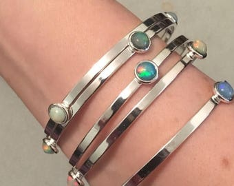 SUMMER Sale Gorgeous opal and silver bangles
