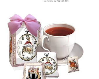 Alice in Wonderland printable tea box and tea bags with tags birthday, Wedding or any party favor or treat, great present too