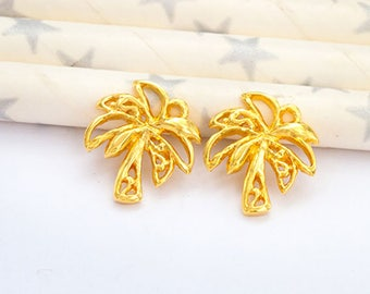 2 of 925 Sterling Silver 24k Gold Vermeil Style Palm Tree Charms 12x13mm.   :vm1036