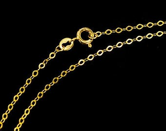 18 inches of 925 Sterling Silver 24k Gold Vermeil Style Marquise Chain Necklace 1.5x2.5 mm. :vm1034-18