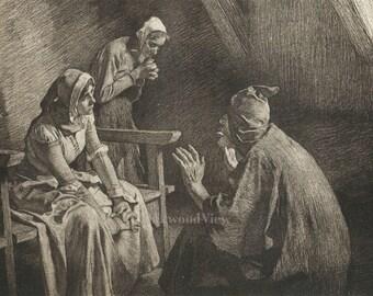 Agnolella Finds a Refuge by Tito Lessi, Antique Italian 10x12 Sepia Engraving c1890s, The Decameron, Giovanni Boccaccio, FREE SHIPPING