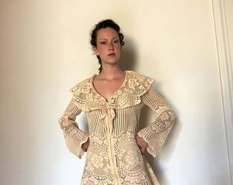 60's Vintage Crochet Lace Cover Upi Dress med.