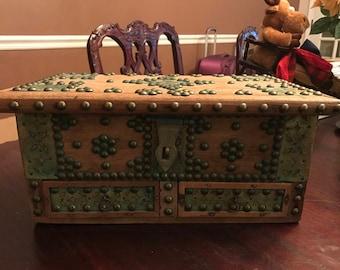 Antique BRASS WOOD Storage Box