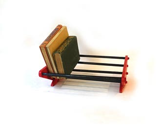 Vintage red and black deco style wood rack book holder, book shelf