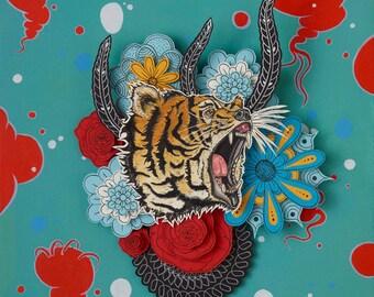 Biger, hybrid animal, gmo, pop surrealism, new contemporary, paper cut art, paper cutting, lowbrow, tiger, bear, animal