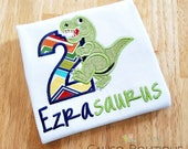 Dinosaur Birthday Shirt - T-Rex Birthday - Dino Shirt - Birthday Shirt with Name - Boys Birthday Shirt - Dinosaur Party - Boys Embroidery