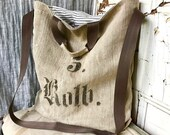 40% off Holiday Sale 5 ROTH - reconstructed vintage linen grain sack messenger tote bag