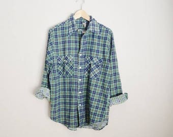 Memorial SALE - 15% off - vintage 70s green blue plaid flannel shirt // mens large