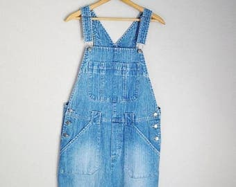 Summer SALE - 20% off - vintage denim blue jean overall shorts shortalls bib farmer dungaree shorts -- womens medium large
