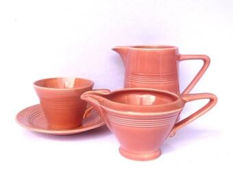 Vintage HOMER LAUGHLIN POTTERY Set/ cup and saucer/creamer/milk pitcher
