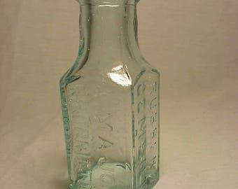 c1880s Major's Rubber Cement New York , Cork Top Aqua Blown Glass Glue bottle No.2