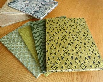 Olive and Celadon with Golden Printing on 6x8 Accordion Fold BFK Alternative Guest Book Photo Album Sketchbook with Deckle Edge