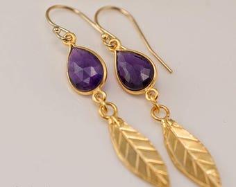 40 OFF - Purple Amethyst earrings - Gold Leaf Earrings - Birthstone Earrings - Gemstone earrings - Gold drop earrings - Dangle Earrings