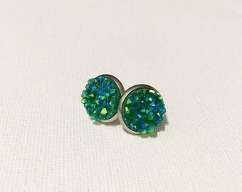 SALE 12mm druzy green studs