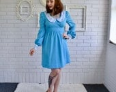 Vintage Blue Polyester Babydoll Dress with Floral Peter Pan Collar Size XS or Small Petite