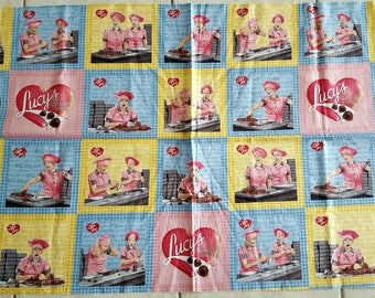 I love Lucy Chocolate Factory 23x44 premium cotton fabric panel by Quilting Treasures - OOP HTF -  Cut Short on Top Edge