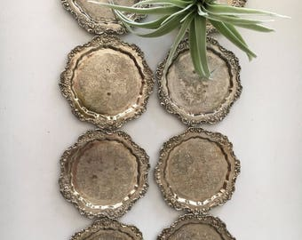 Set of 8 Silver Ornate Coasters - intricate floral pattern - These would be perfect for parties or even as ring, change and trinket dishes
