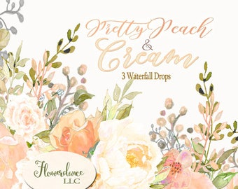 Peony, rose and hydrangea clipart, peach roses clipart, cream peony clipart,cream hydrangea clipart,peach peony clipart,drop arrangement