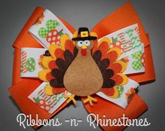 Thanksgiving Bow, Thanksgiving Turkey Bow, Fall Bow, Fall Hair Bow, Turkey Bow, Thanksgiving Hair Bow, Holiday Hair Bow, Turkey Hair Bow