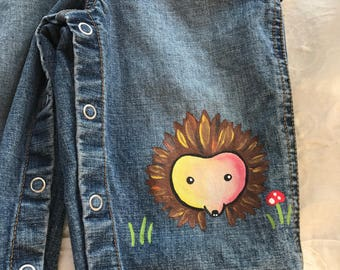 Hedgehog baby jean overalls  size 12-18 months. One of a kind baby overalls with matching organic cotton tee