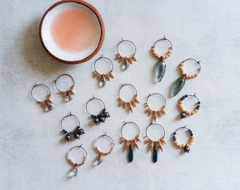 Rose Gold Hoop Earrings, Faceted Peacock Pearls, Cubes, Boho Jewelry, Gemstone Earrings