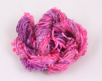 Fuchsia purple bright pink Silk embroidery Thread ribbon Hand Dyed Variegated quilting thread weaving supply embellishment hand dyed