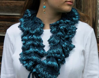 Crochet Pattern PDF for Ruffled Drawstring Infinity Scarf, Cowl, Novelty Ruffle Yarn