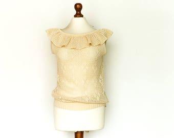 Vintage Crochet Top Blouse / Sheer See through / Boho Bohemian / Summer / Golden Beige / Ruffle Collar / Sleeveless / Soft / medium