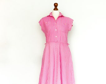 Vintage Dress Pink White Stripes Striped / Short Sleeve / Buttoned Top / Collar / Full Skirt / Midi / small medium