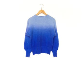 Vintage Wool Sweater Top Pullover / Ombre Fade / Blue Light and Bright /  80s / small medium