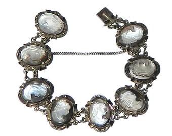 Vintage 1920's Italian Cameo Bracelet in Silver Setting