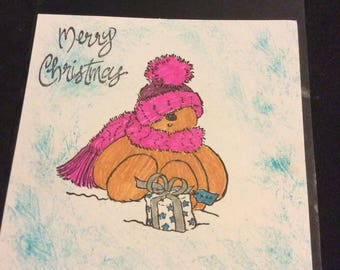 Merry Christmas teddy bear card, hand stamped, hand colored, bear scarf present , Christmas card, greeting card