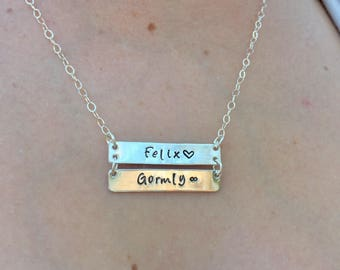 Personalized Double Bar Necklace , Bar Necklace , Name Necklace , Hand Stamped Necklace , Sterling Bar, Natashaaloha