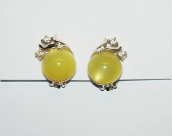 VINTAGE 50s Earrings with Diamonds / Clip Ons