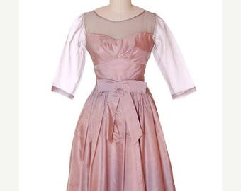 SAVE 20% Vintage Party Dress Silk Organza in Mauve 1950s Ferman O'Grady 36-24-Free Small