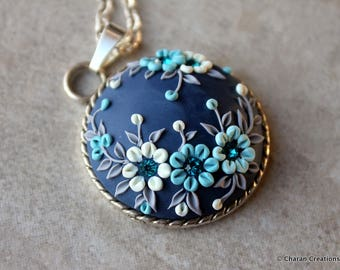 Elegant Polymer Clay Applique Statement Pendant Necklace in Blue