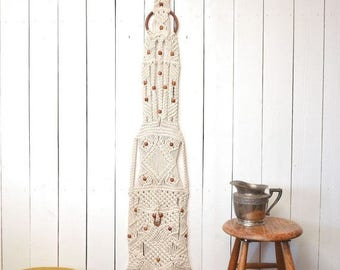 34% Off Sale - Macrame Wall Hanging - 1960s Large Fringe Hippie Boho Decor White Wood Bead Floor to Ceiling Vintage Wall Hanging