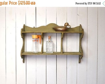 Wood Wall Shelf - Antique Primitive Early 1900s Shelves - Large Green Chippy Paint Wall Shelf - Vintage Rustic Decor